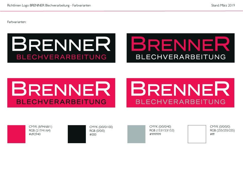 Farbvarianten Logo Brenner Blechverarbeitung