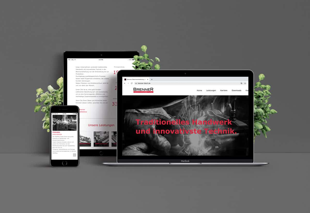 Webdesign für Firma Brenner Blechverarbeitung auf Laptop, Tablet und Smartphone