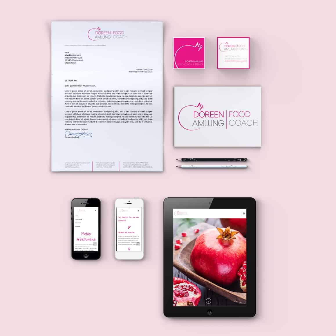 Portfolio Design für Doreen Amlung Food Coach: Website, Geschäftspapier, Visitenkarte, Logo