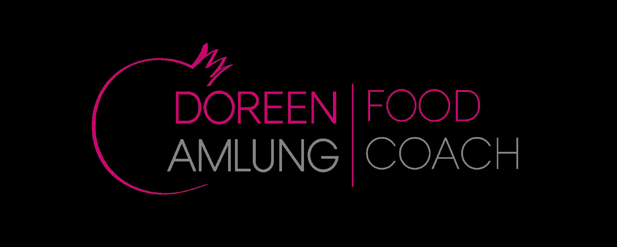 Logo Doreen Amlung Food Coach in Pink und Grau mit Granatapfel als Key Visual