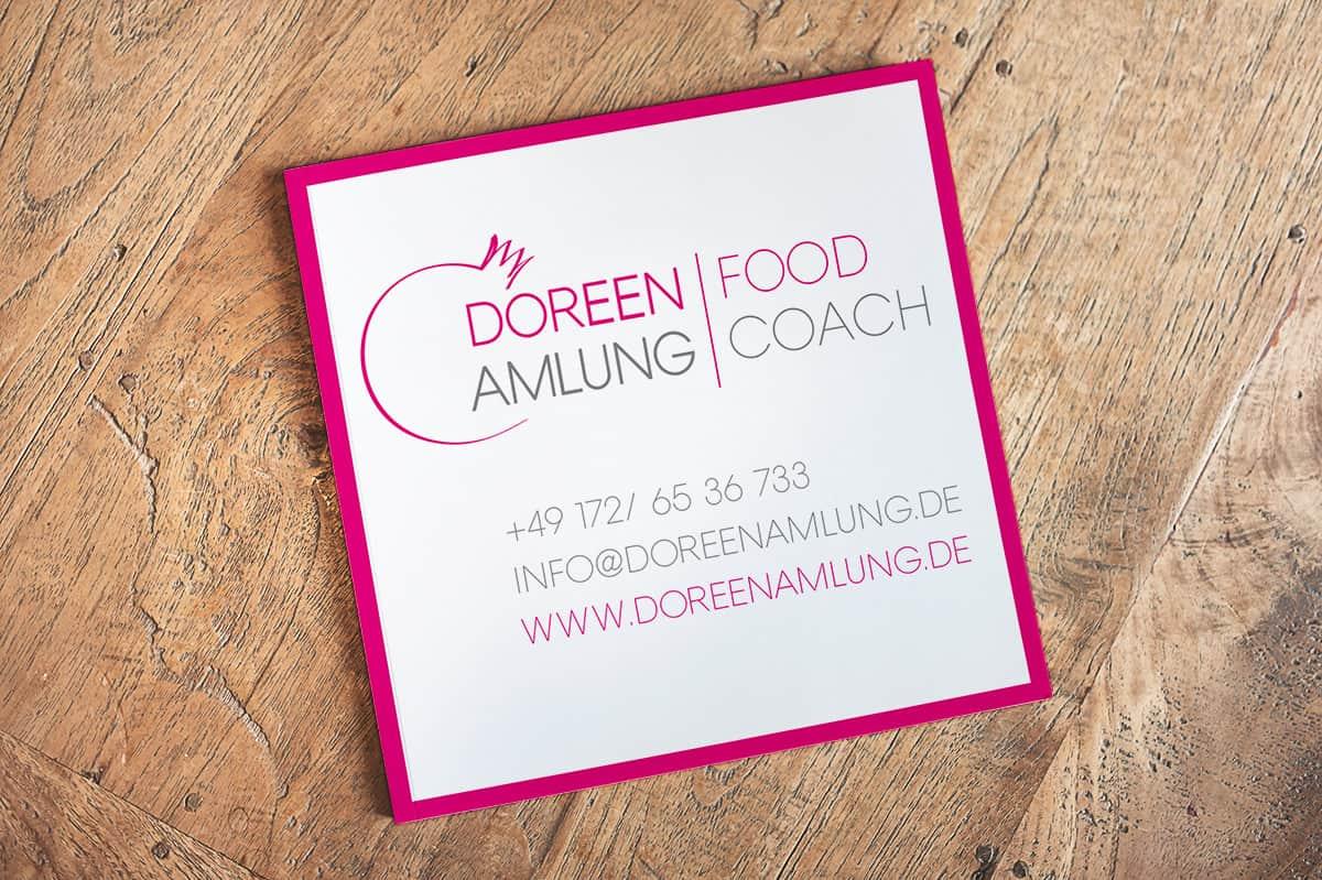 Rückseite Visitenkarte quadratisch Doreen Amlung Food Coach