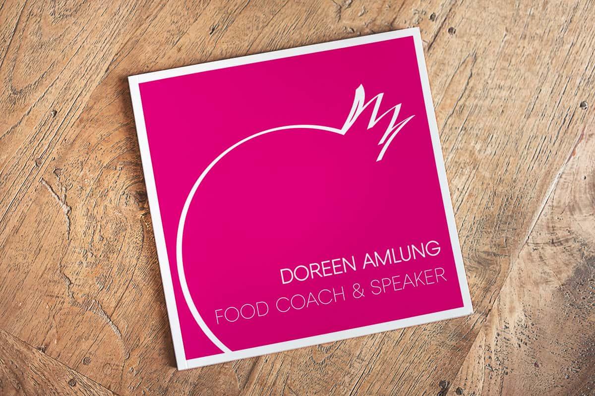 Vorderseite Visitenkarte quadratisch Doreen Amlung Food Coach