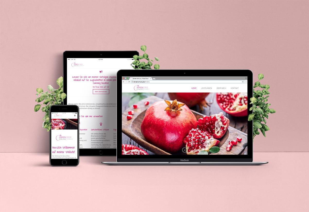 Webdesign für Doreen Amlung Food Coach auf Laptop, Tablet und Smartphone