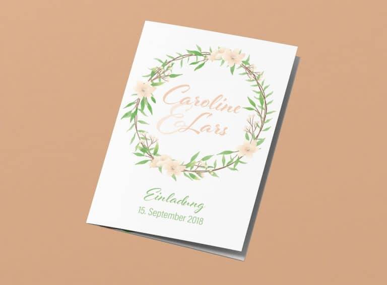 Hochzeitseinladung Grün und Apricot mit Blumenkranz