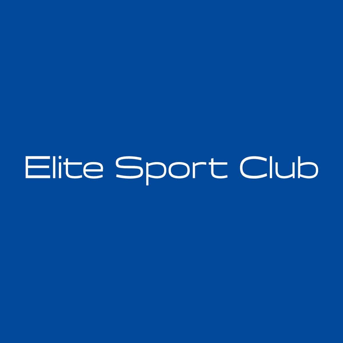 Logo Elite Sport Club weiße Schrift auf blauem Untergrund