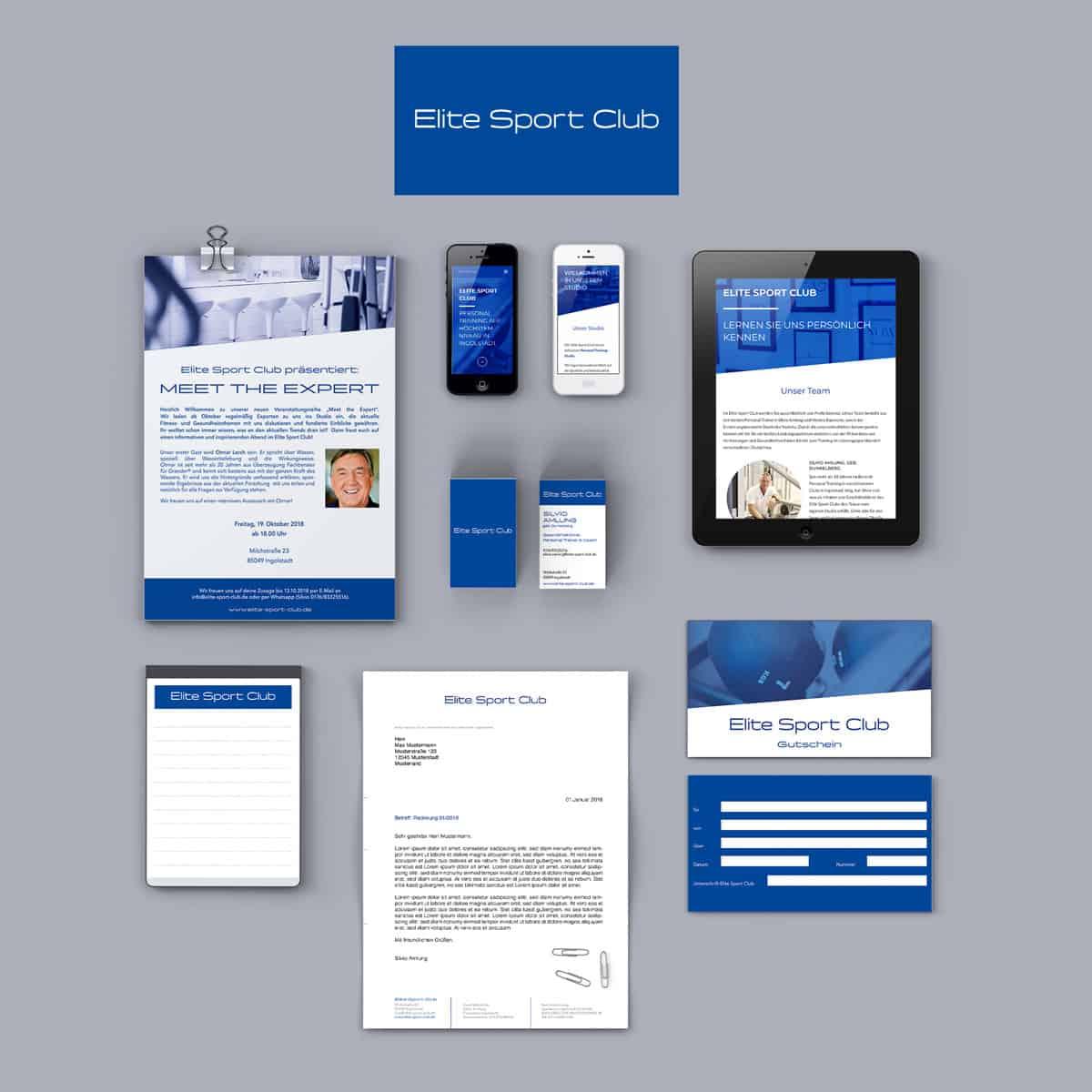 Portfolio Design für Elite Sport Club: Website, Geschäftspapier, Visitenkarte, Logo