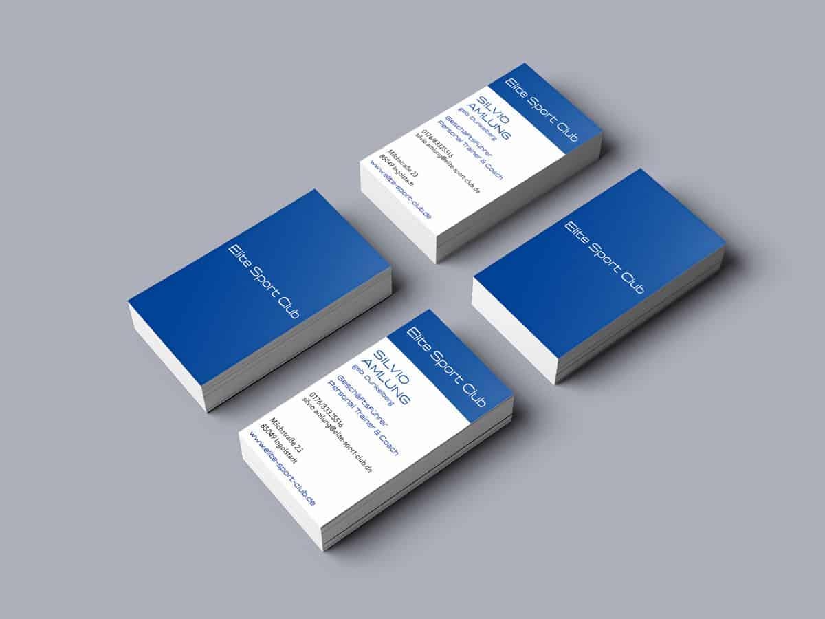 Design Visitenkarten Elite Sport Club Vorder- und Rückseite