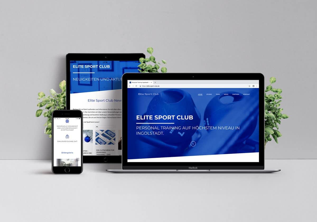 Webdesign für Elite Sport Club auf Laptop, Tablet und Smartphone