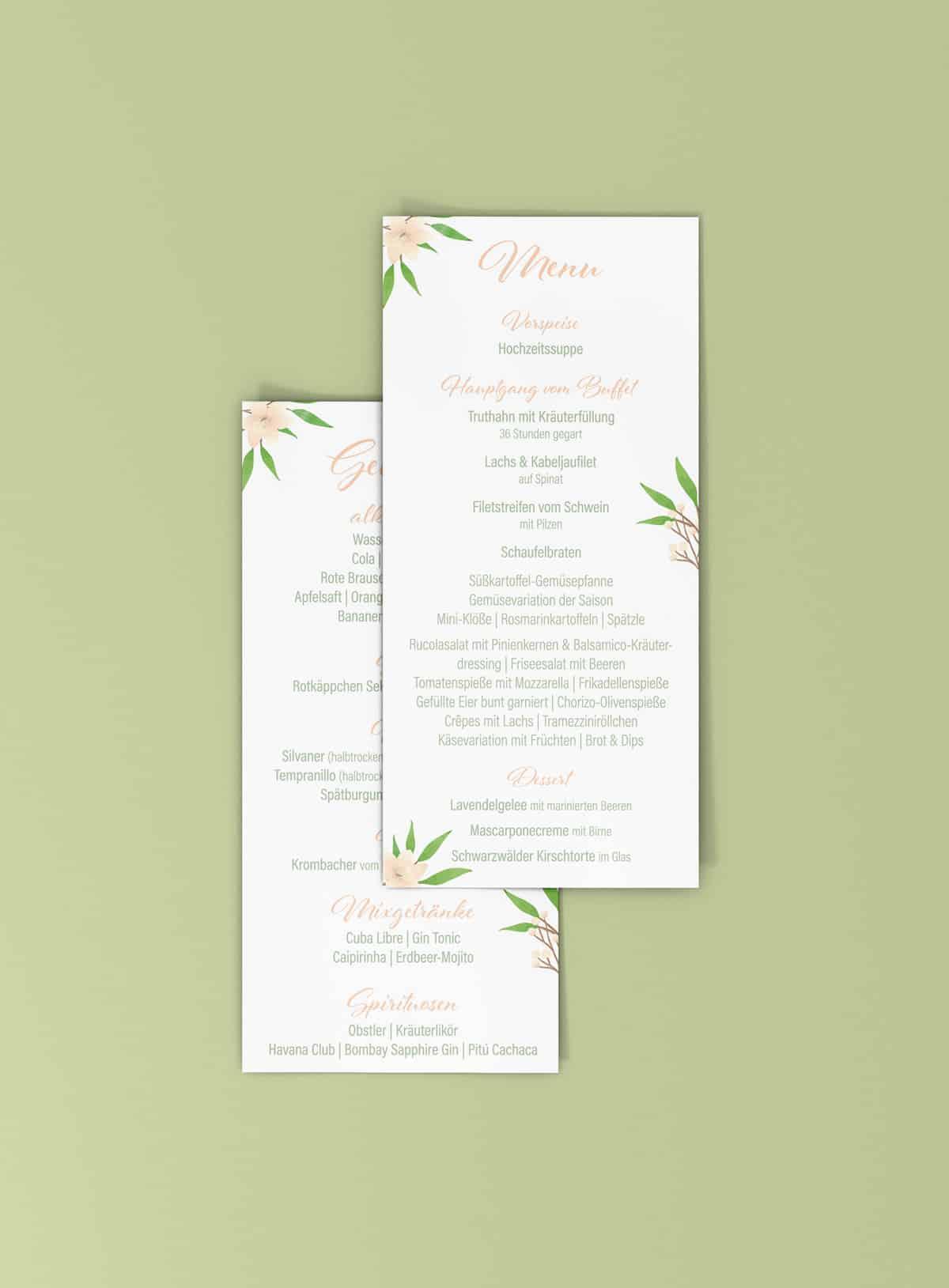 Menukarte Hochzeit Caro und Lars in Grün und Apricot mit Blumen