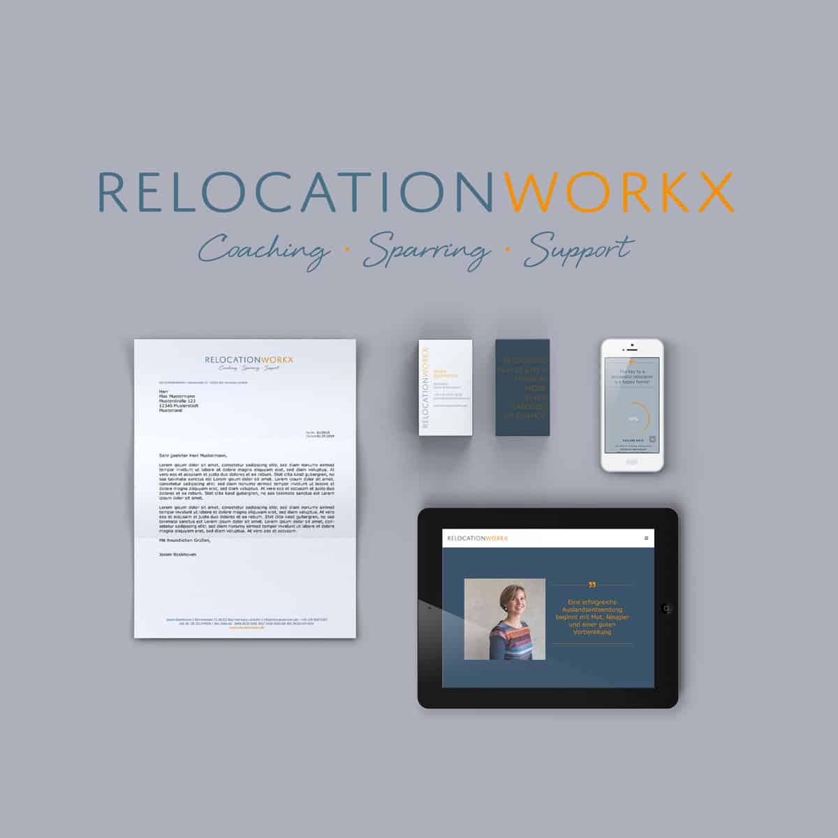 Portfolio Design für Relocationworkx Corporate Design und Web Design