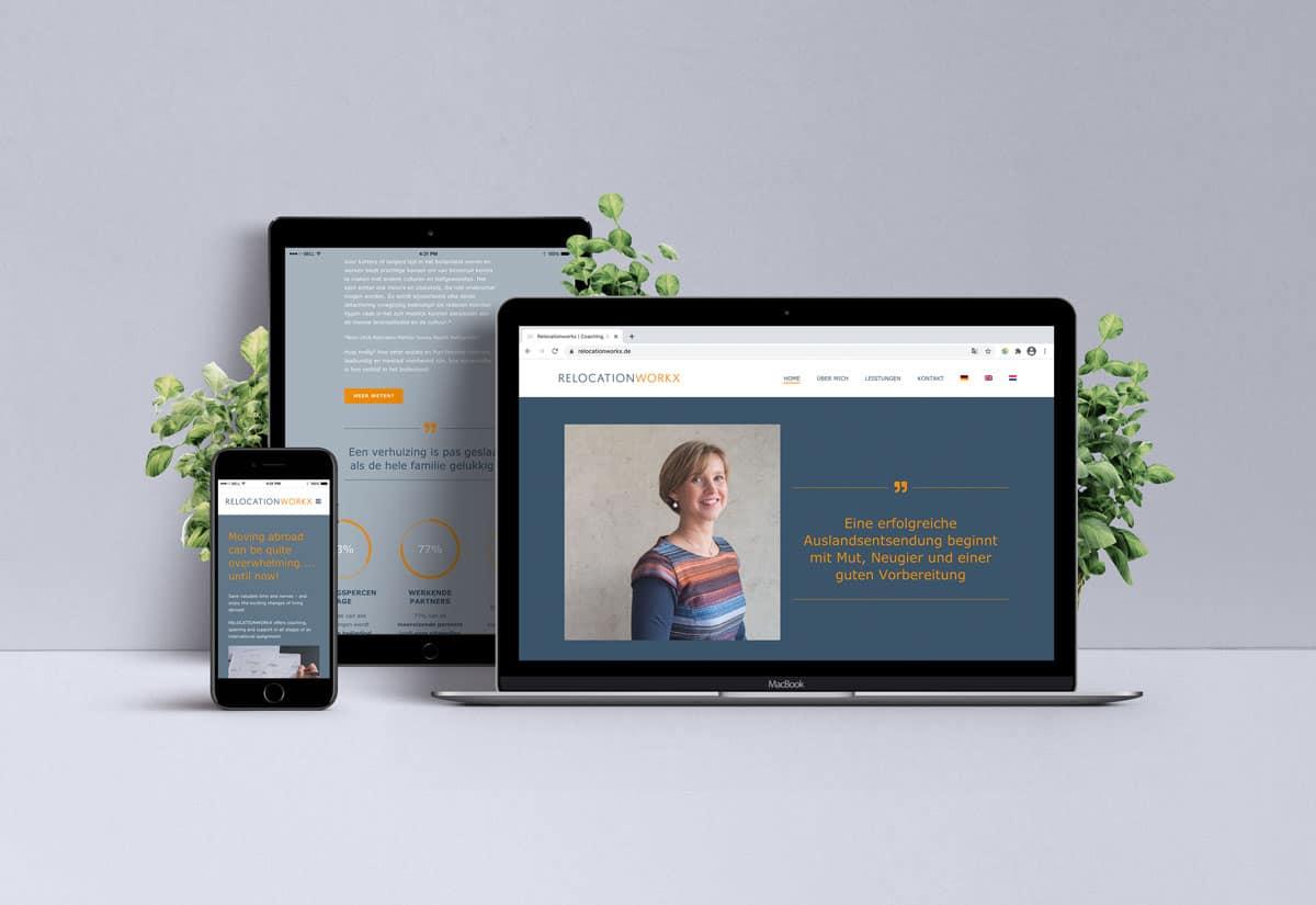 Webdesign für Relocationworkx auf Laptop, Tablet und Smartphone