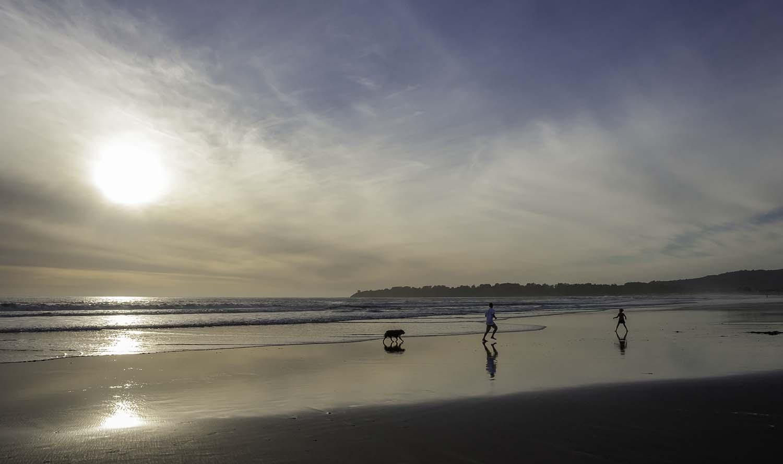 Strand Aufnahme Stinson Beach Sonnenuntergang mit zwei spielenden Kindern und Hund im Gegenlicht