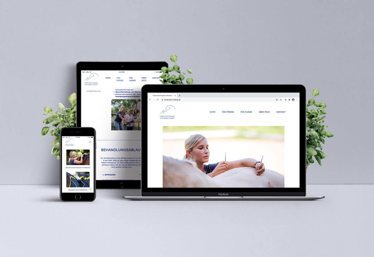Webdesign für Tierphysiotherapie Katharina Ludwig auf iPhone, iPad und Laptop